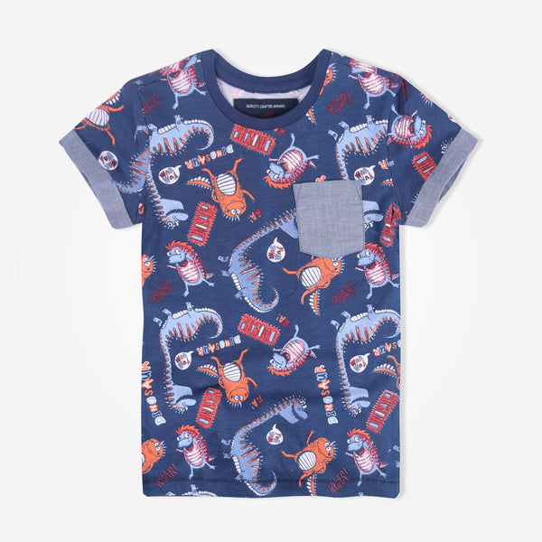 Kids Oliver Duke Fun All Over Printed Pocket T-Shirt - klashcollection - 1