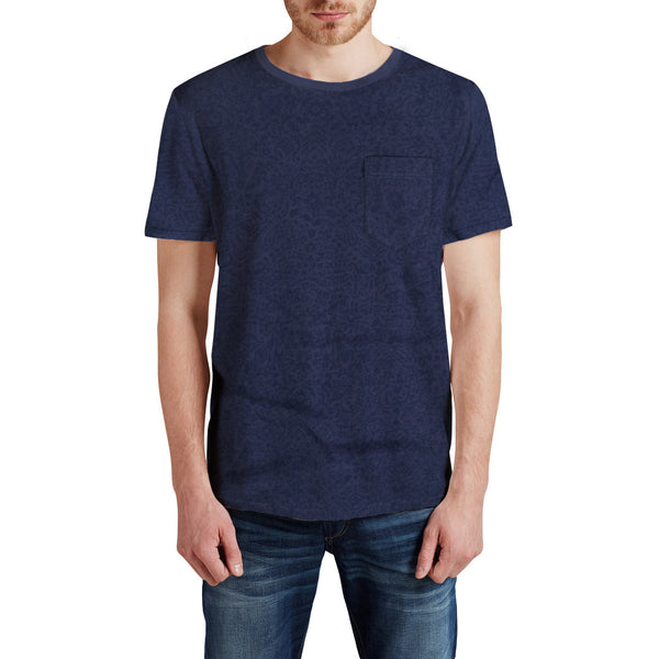Men's Henry James allover Printed Crew neck Pocket Tee shirt - Navy - klashcollection - 7