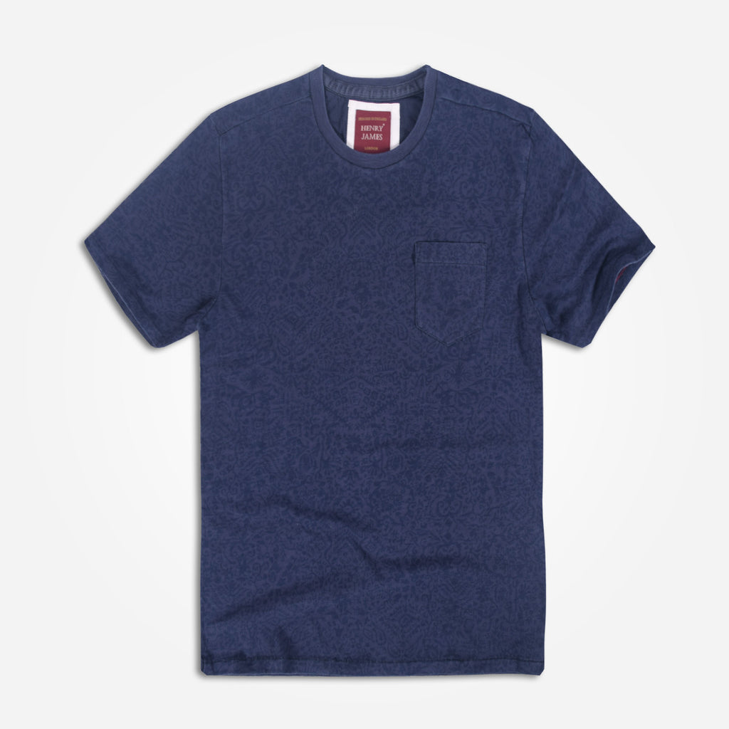 Men's Henry James allover Printed Crew neck Pocket Tee shirt - Navy - klashcollection - 1