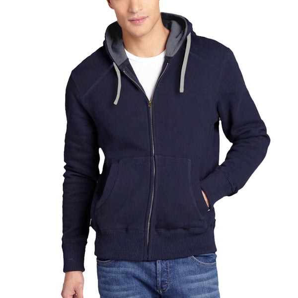 Men's Henry James North Cost Zip Through Hoodie - Navy -Charcoal - klashcollection - 1
