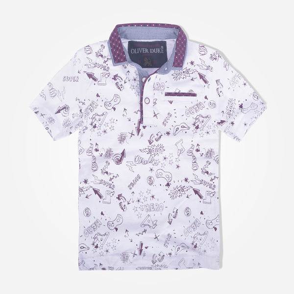 Kids Oliver Duke Contrast trims Rotary Printed Fun Polo Shirt - klashcollection - 1