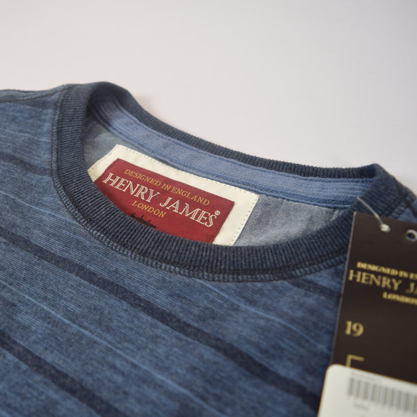 Men's Henry James Dyed Yarn Crew neck Tee Shirt - Jeans Marl / Navy - klashcollection - 4