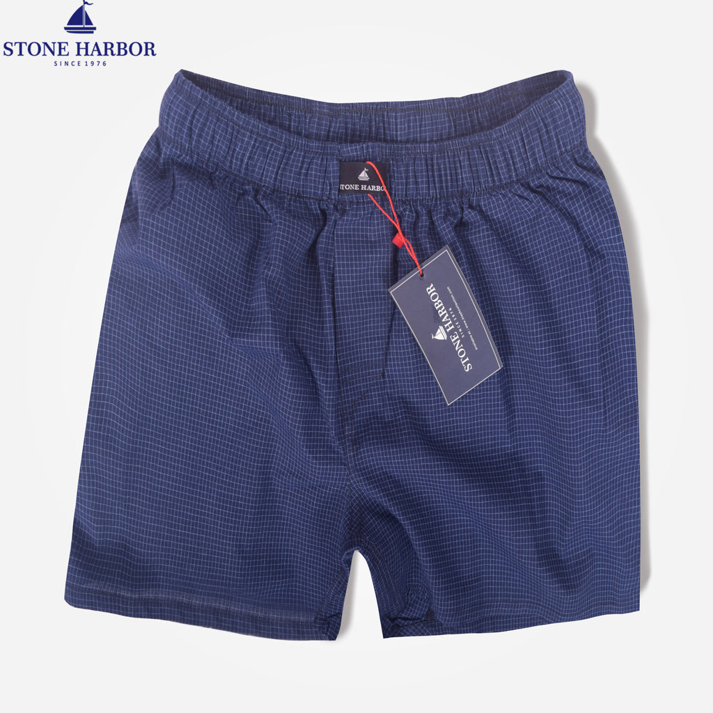 Men's Stone Harbor Navy Sky Brick Check Woven Boxer Short - klashcollection - 1