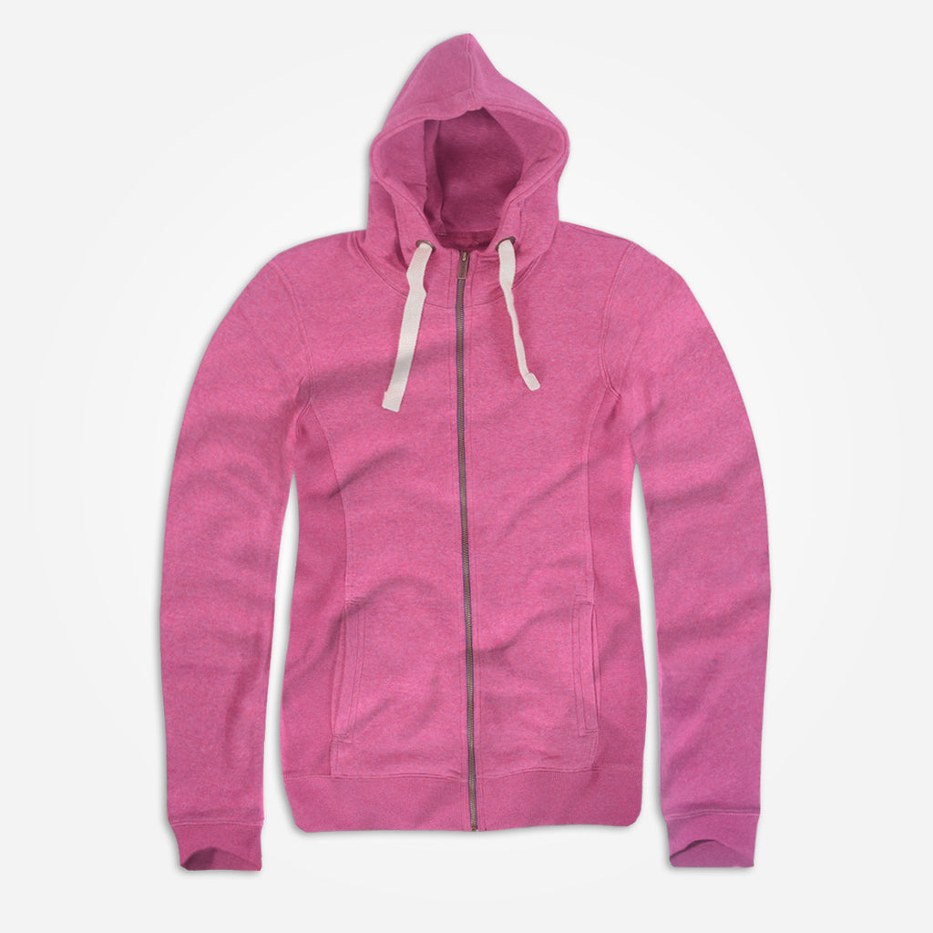 "Women ""TAGG"" Nap Yarn Super Soft Zip Through Hoodie With Side Ribbed Panels - Pink Marl - klashcollection - 1"