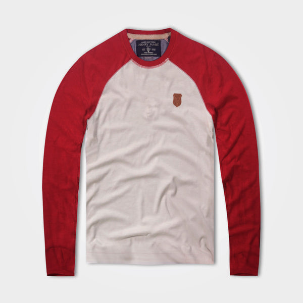 Men's Henry James Raglan Sleeve Crew Neck Slub T-Shirt - Off white - Red - klashcollection - 1