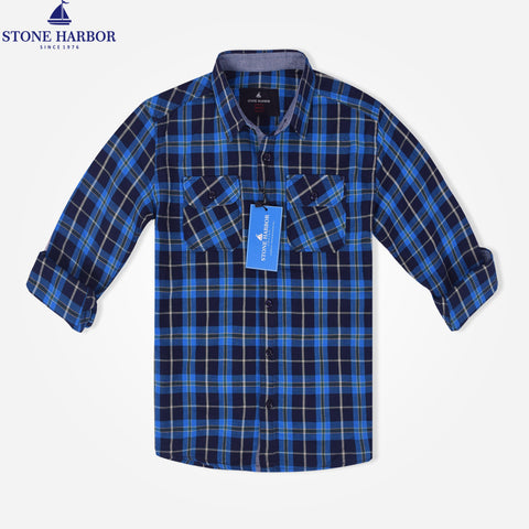 Kids Stone Harbor Double Pocket Checked Casual Shirt - Blue