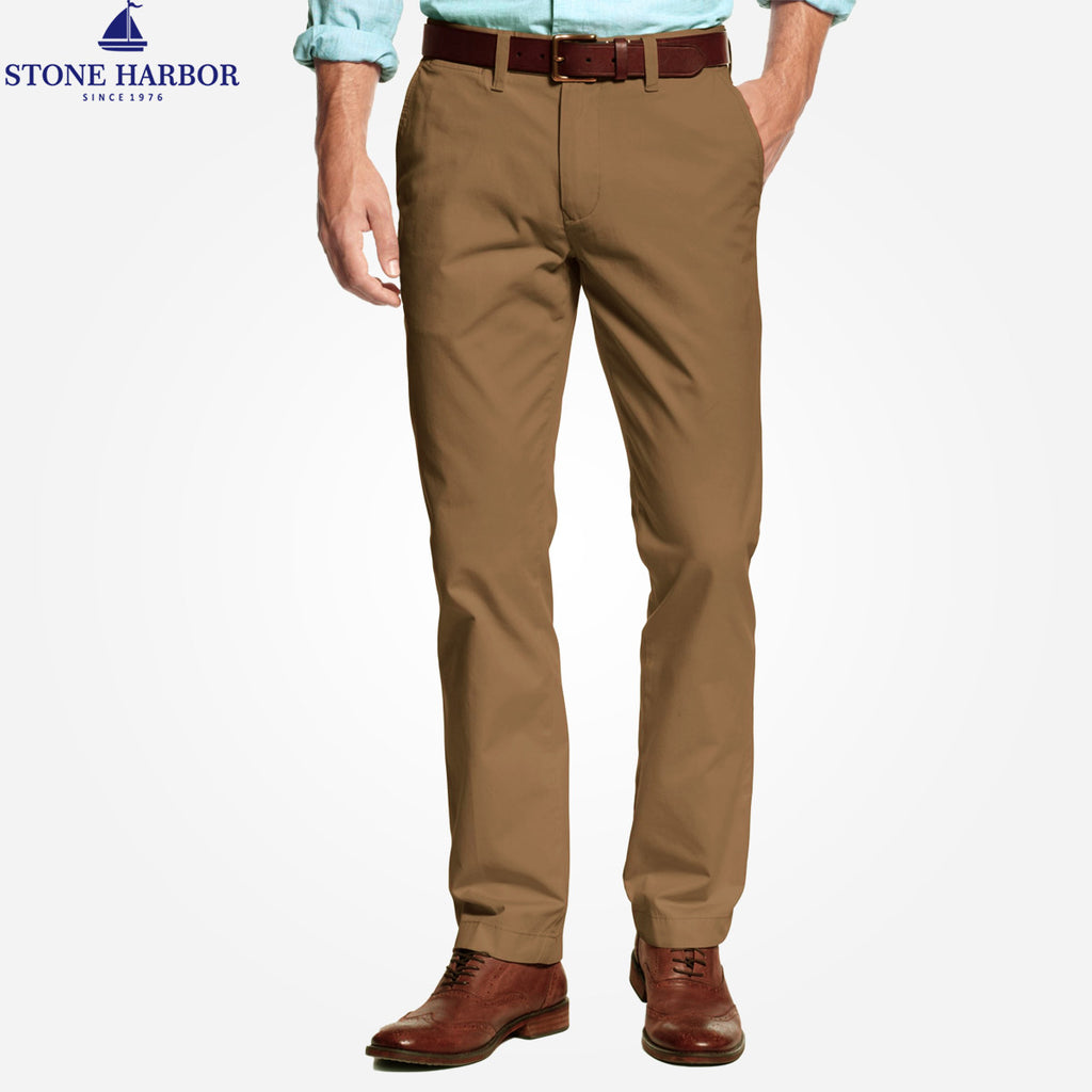 "Men's ""Stone Harbor"" Slim fit Cotton Chino Pant - Chocolate Brown - klashcollection - 1"