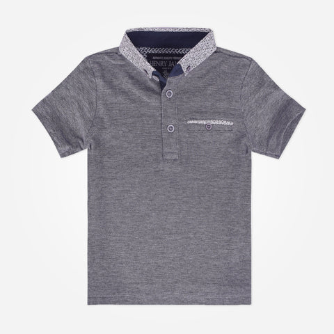 Kid's Henry James Short Sleeves Polo Shirt - Charcoal