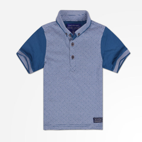 Kids Henry James Contrast Sleeves Polo Shirt - Teal