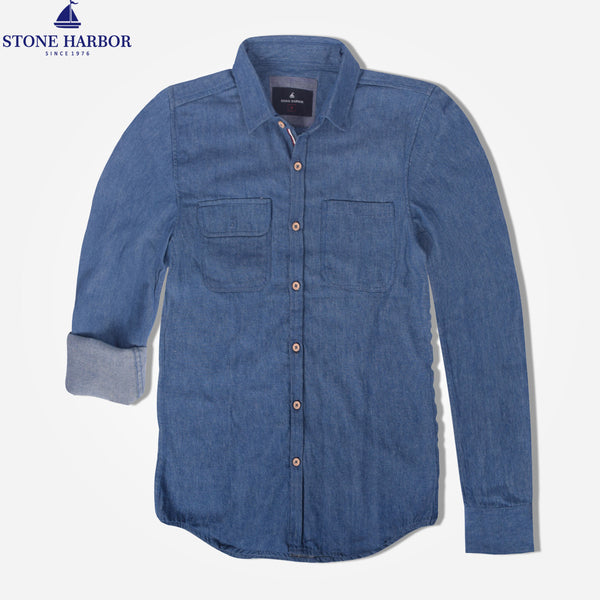 "Men's ""Stone Harbor"" Two Pocket Denim Casual Shirt - klashcollection - 1"