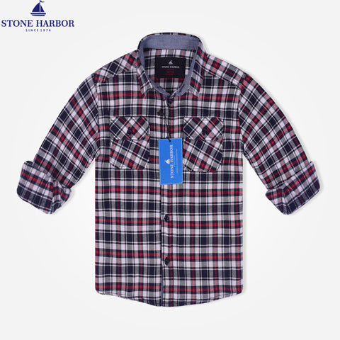 Kids Stone Harbor Double Pocket Checked Casual Shirt - White check