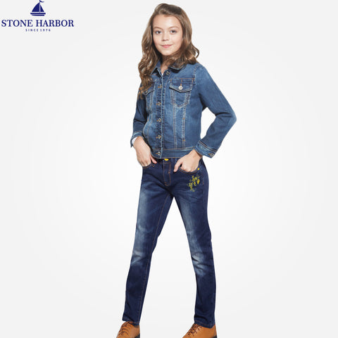 Girl's Stone Harbor Slim fit Strechable denim -Midnight  Navy