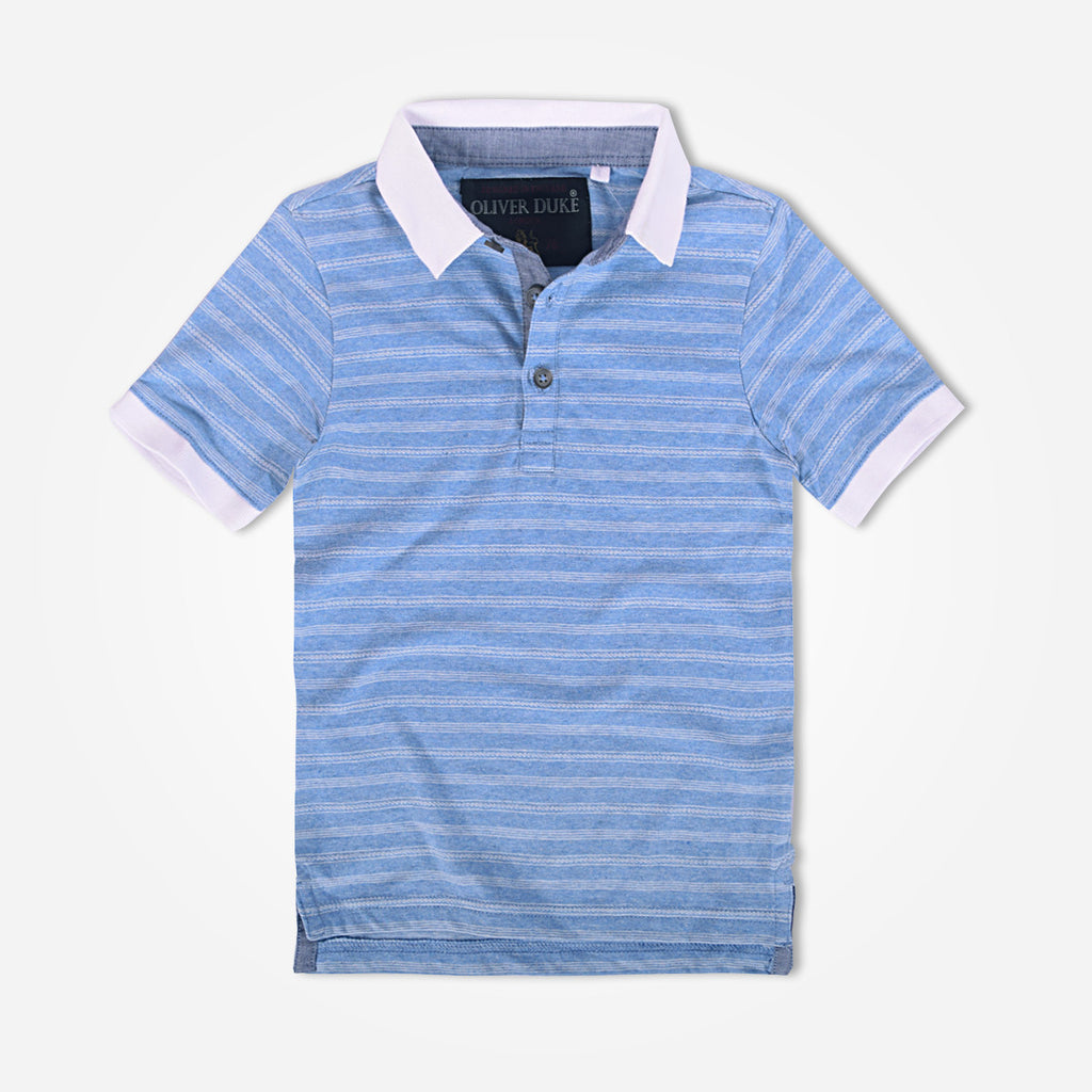 Kids Contrast Collar Sky Striped Polo Shirt - klashcollection - 1