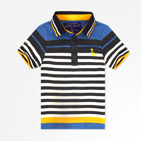 Kids Henry James Tipped Collar and Sleeves Polo Shirt - Blue/White