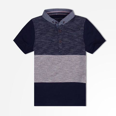 Kids Henry James Block Paneled Polo Shirt - Navy/Grey