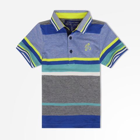 Kid's Henry James  multi-coloured striped polo shirt