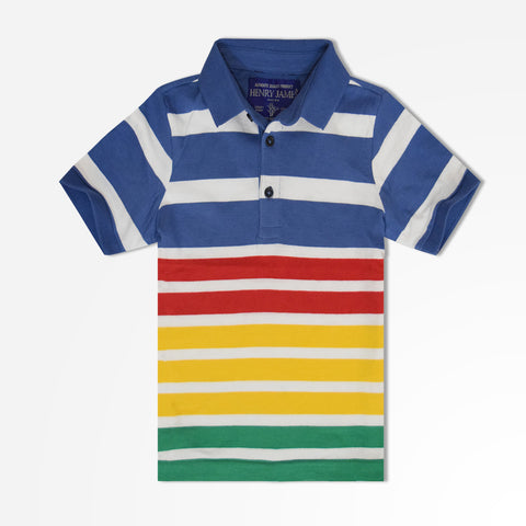 Kids Henry James Block Striped Polo Shirt - Blue