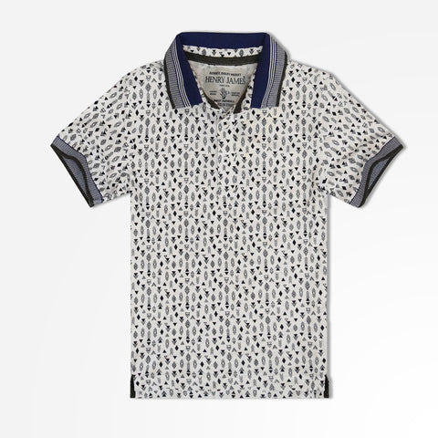 Kids Henry James Aztec Printed Polo Shirt - White