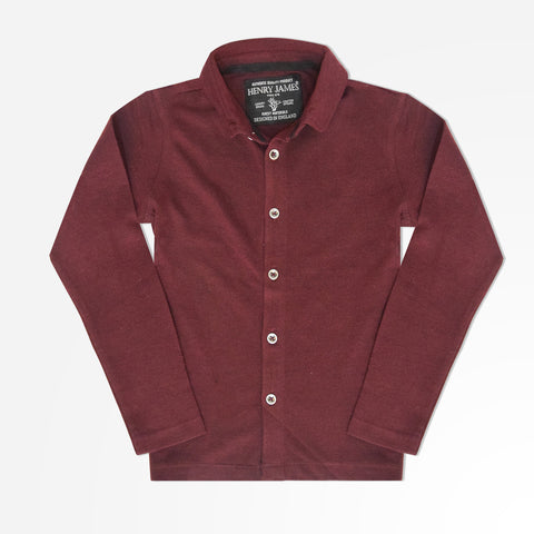 Kid's Henry James Full Fastening Polo Shirt - Burgundy