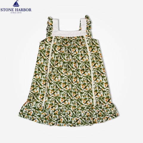 Stone Harbor Junior Girls' floral printed Frock - Beige/Green Floral