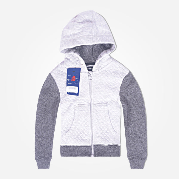 Kids Oliver Duke Quilted Zipper hoodie with Contrast sleeve - Grey Marl - klashcollection - 1