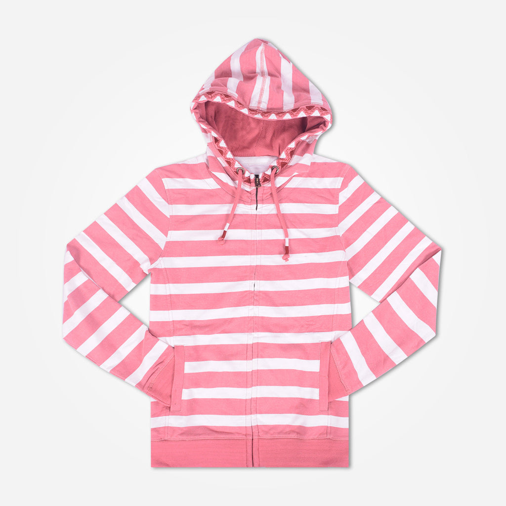 Ladies TAGG Zip Through Striped Hooded - White/Pink - klashcollection - 1