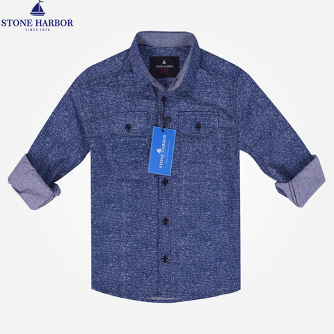 Kids Stone Harbor Double Pocket Textured Casual Shirt - Blue
