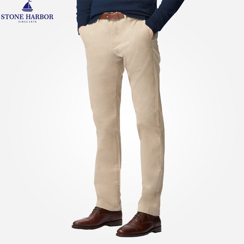 "Men's ""Stone Harbor"" Slim fit Cotton Chino Pant - Light Khaki Brown - klashcollection - 1"