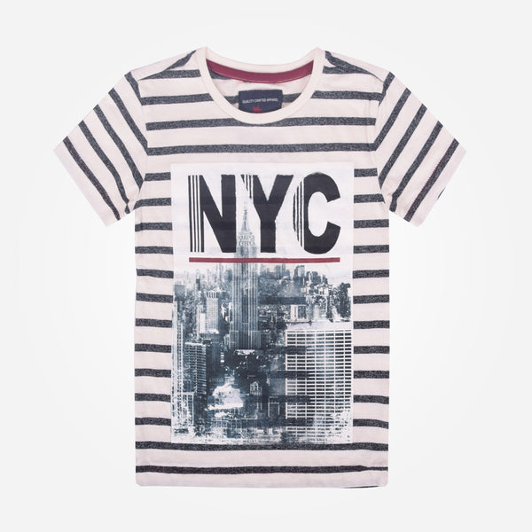 "Kids Oliver Duke Striped ""NYC"" Graphic T-Shirt - klashcollection - 1"