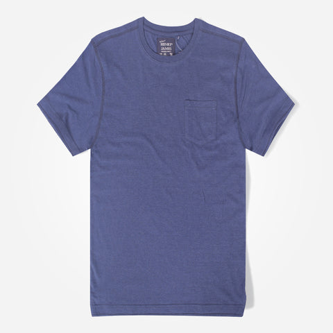 Men's Henry James Textured Navy Pocket Tee Shirt with Left Chest Pocket - klashcollection - 1
