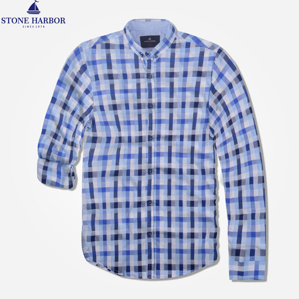 "Men's ""Stone Harbor ""White Check Casual Shirt - klashcollection - 1"