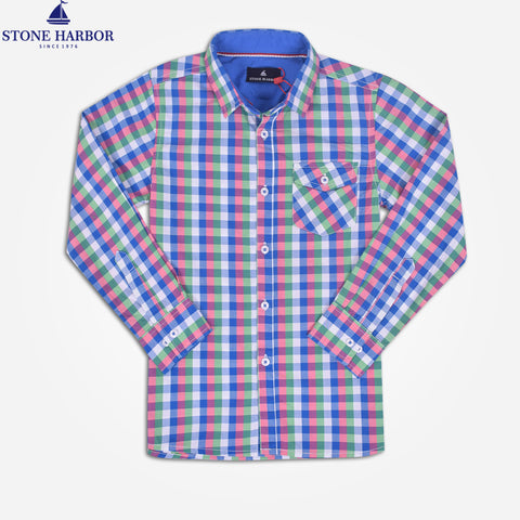 Kid's Stone Harbor Single Pocket Casual Shirt - Blue