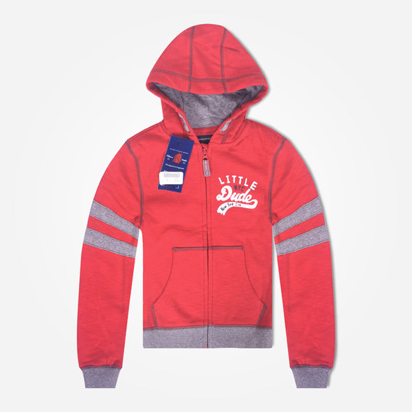 Kids Oliver Duke LITTLE DUDE contrast panel and rib zip through Hooded - Red - klashcollection - 1