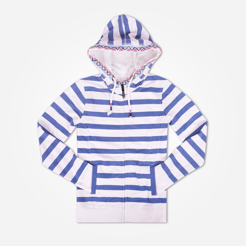 Ladies TAGG Zip Through Striped Hooded - White/Blue - klashcollection - 1