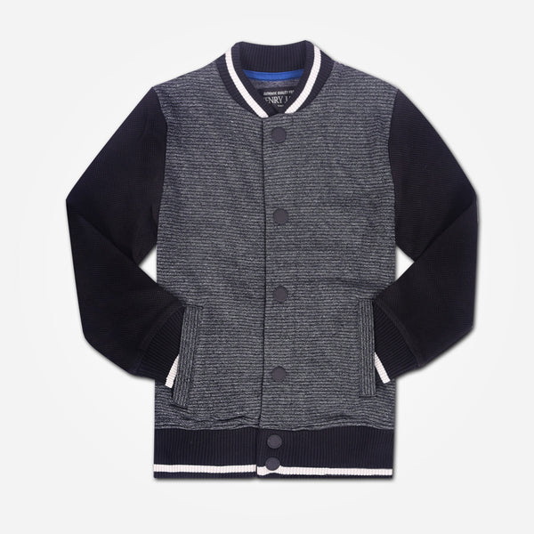 Kids Oliver Duke Textured Contrast Sleeve Button Jacket - Charcoal/Black - klashcollection - 1