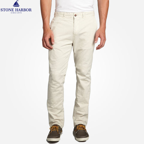 "Men's ""Stone Harbor"" Slim fit Cotton Chino Pant - Ivory Cream - klashcollection - 1"