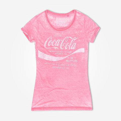 Women's Tagg Burnout Graphic T-Shirt with Coca Cola Chest Print - klashcollection - 1