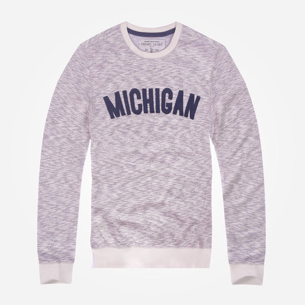 Copy of Men's Henry James Oatmail Marl MICHIGAN crew neck sweat _ Oatmail Marl - klashcollection - 1
