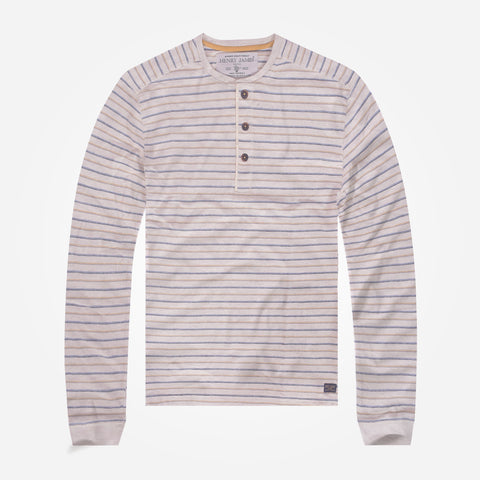 Men's Henry James long sleeve striped Henley - Oatmail Marl/Navy/Camel - klashcollection - 1