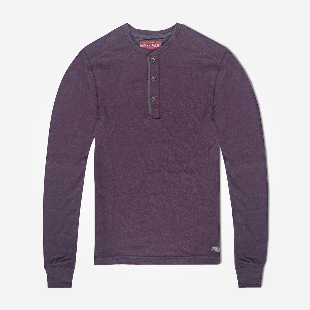 Men's Henry James long sleeve Melange Henley - Dark Wine - klashcollection - 1