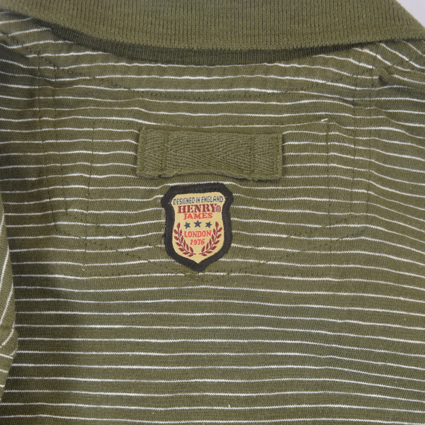 Men's Henry James dyed Yarn Thin Strip Self Collar Polo Shirt - Green - klashcollection - 7