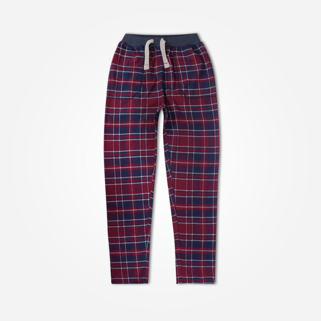 Kids Oliver Duke Flannel Checked Open Bottom pull on Trouser - klashcollection - 1