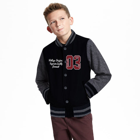 Kid's Henry James Button through contrast sleeve quilted baseball jacket - Black/Grey - klashcollection - 1