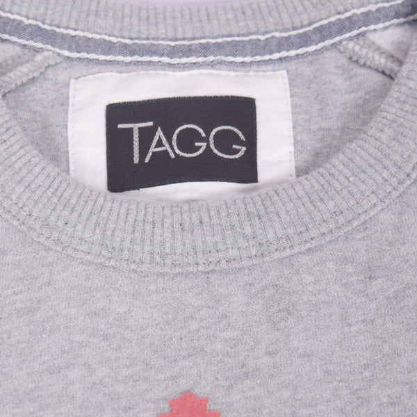 "Women ""TAGG""  Fluffy Lounge Crew Neck Sweatshirt with Chest Print - Grey Marl - klashcollection - 2"