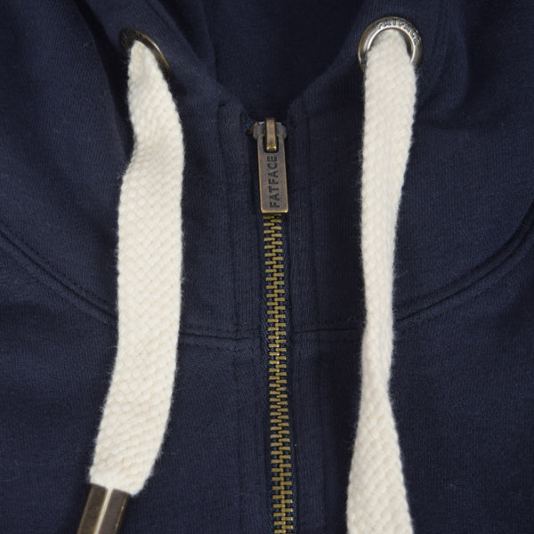 "Women ""TAGG"" Super Soft Zip Through Hoodie With Side Ribbed Panels - Navy - klashcollection - 3"