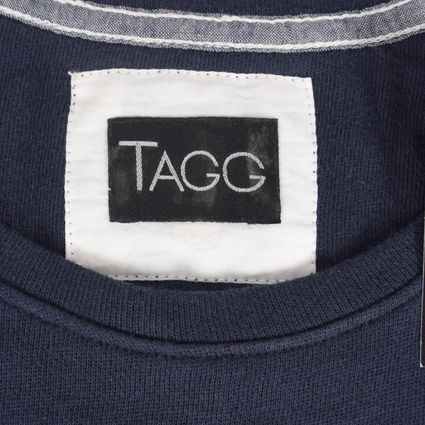 "Women's ""TAGG"" Quarter Sleeve Boat Neck Two tone Terry Top With Front Chest Embroidery - Navy - klashcollection - 6"