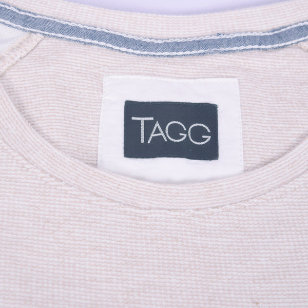 "Women's ""TAGG"" Quarter Sleeve Boat Neck Two tone Terry Top With Front Chest Embroidery - Oatmeal Heather - klashcollection - 6"