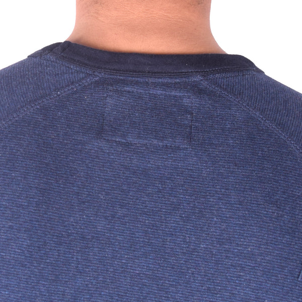 Men's Henry James Contrast Ribbed Crew Neck Sweat Tee Shirt - Mid Night Blue - Navy - klashcollection - 4