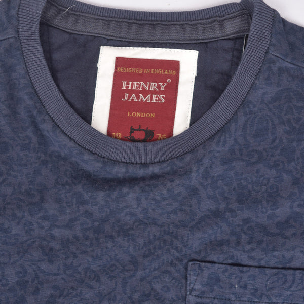 Men's Henry James allover Printed Crew neck Pocket Tee shirt - Navy - klashcollection - 3