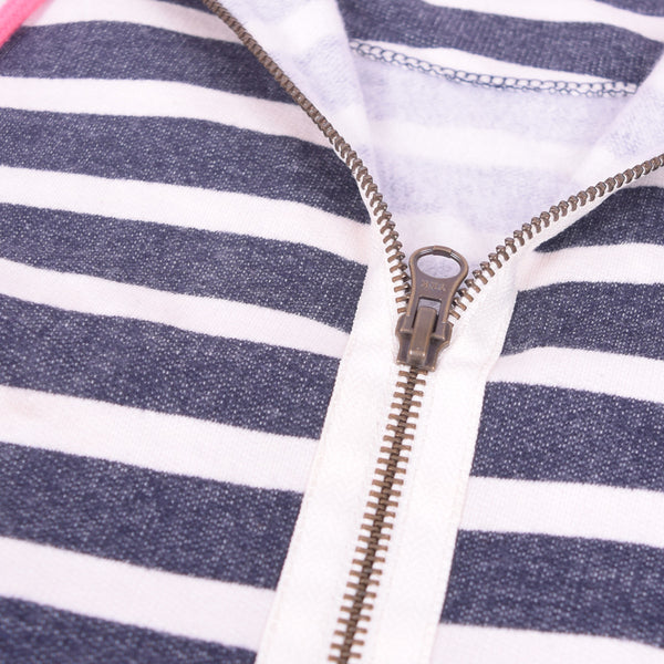 Women Zip Through Striped neon Pink Hood Lined Hoodie - Navy  White Neon Pink - klashcollection - 2